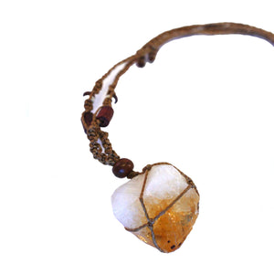 Citrine point macrame necklace