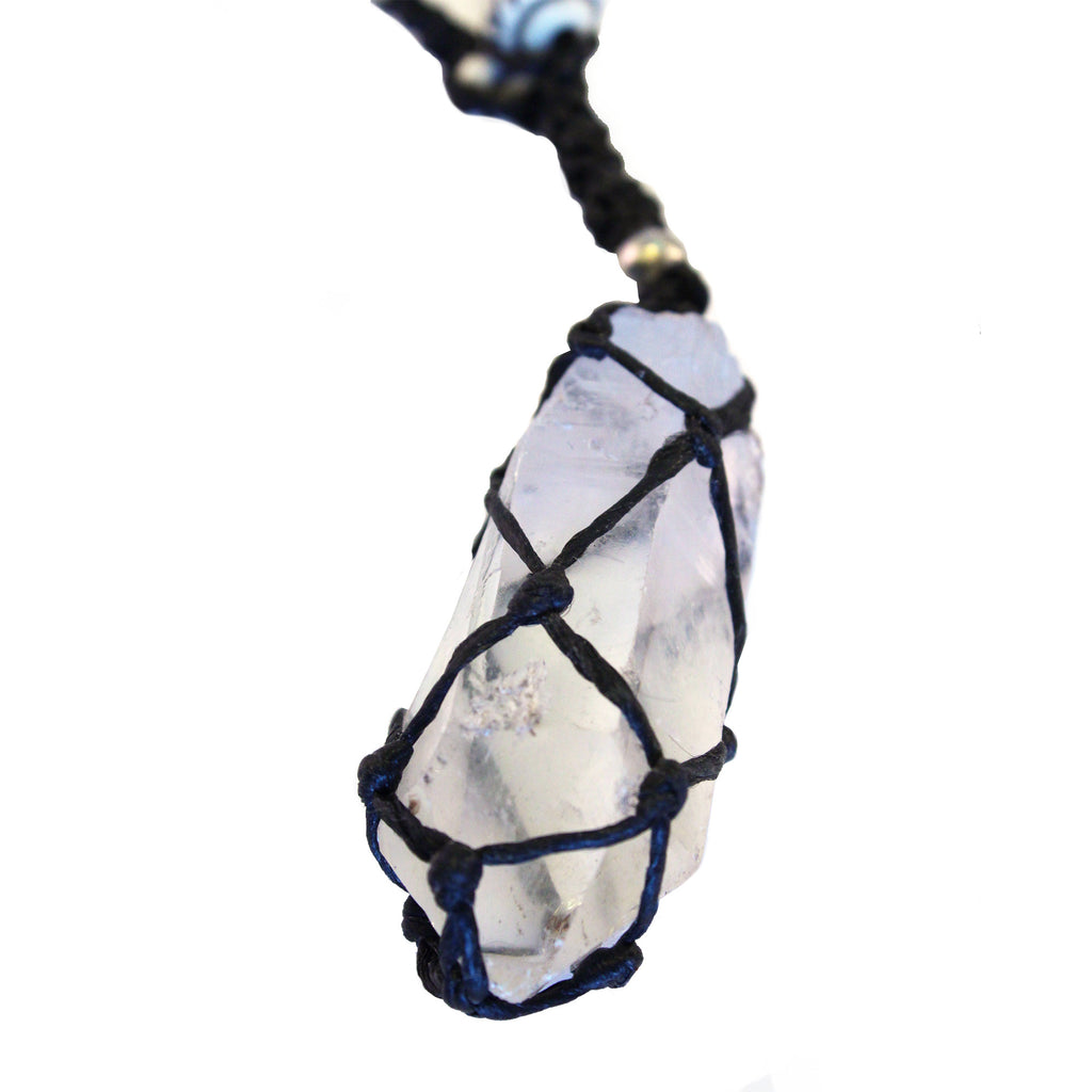 Clear quartz point macrame necklace