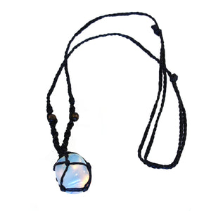 Opalite point macrame necklace