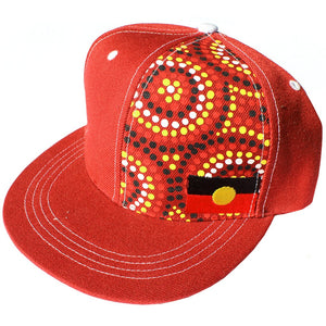Aboriginal Flag and original dot artwork Cap - Red/ Burgundy