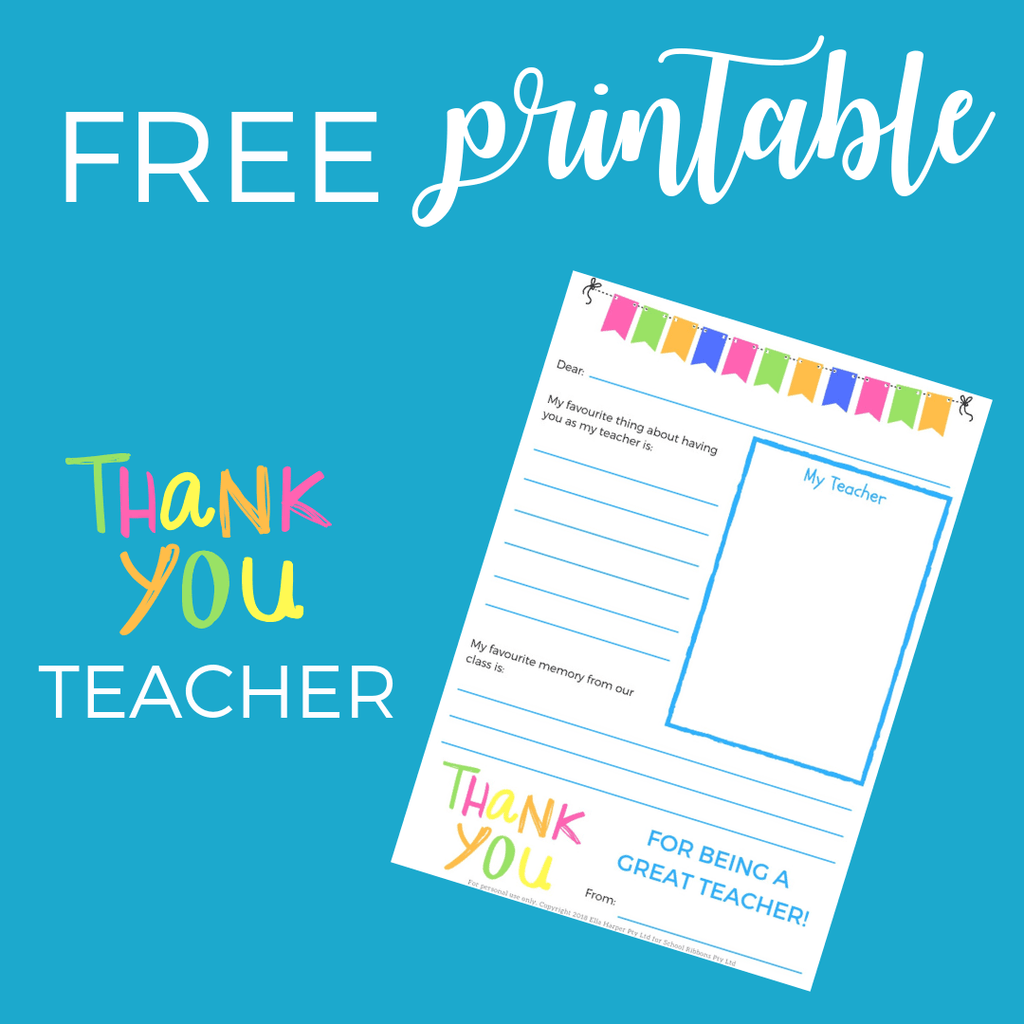 F R E E  Thank You Teacher Printable from School Ponytails