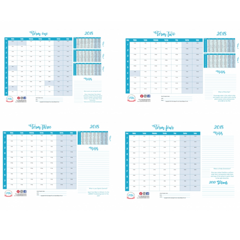 Preview of 2018 School Term Planner - one page per term