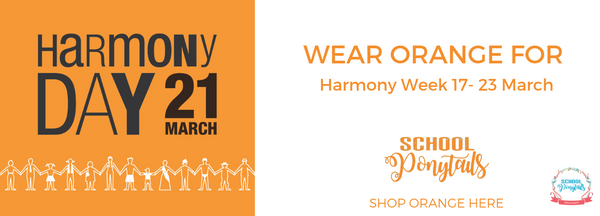 Wear ORANGE for Harmony Day. Purchase orange items for girls and boys from School Ponytails