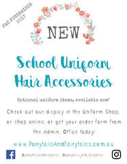 Ponytails and Fairytales Western Australia WA School Uniform Hair Accessories in your colours to suit your dress coed
