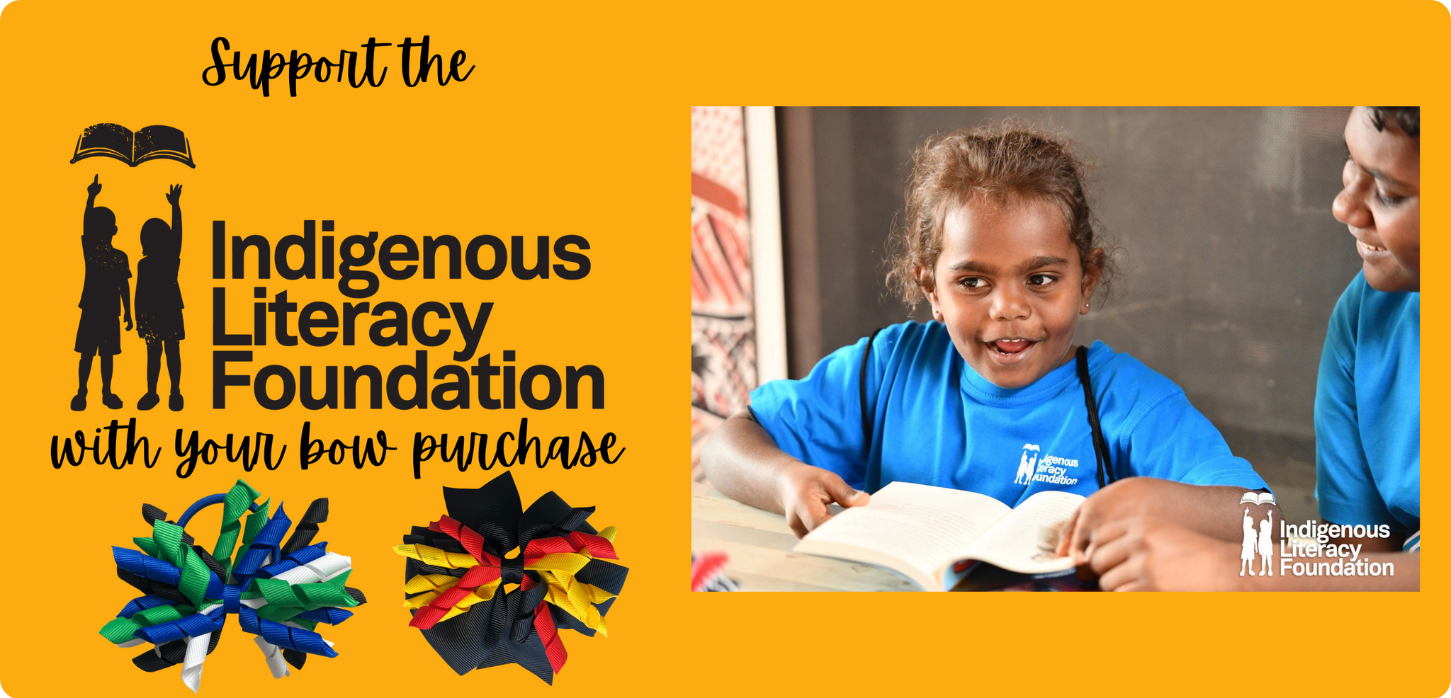 Support the Indigenous Literacy Foundation with your purchase of Aboriginal or Torres Strait Islander coloured bows