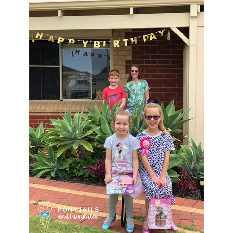 decorated doorsteps and socially distant pictures for a birthday party