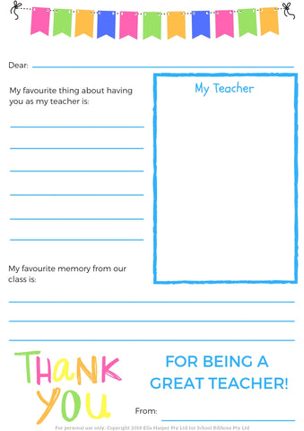 F R E E Thank You Teacher Printable from School Ponytails ...