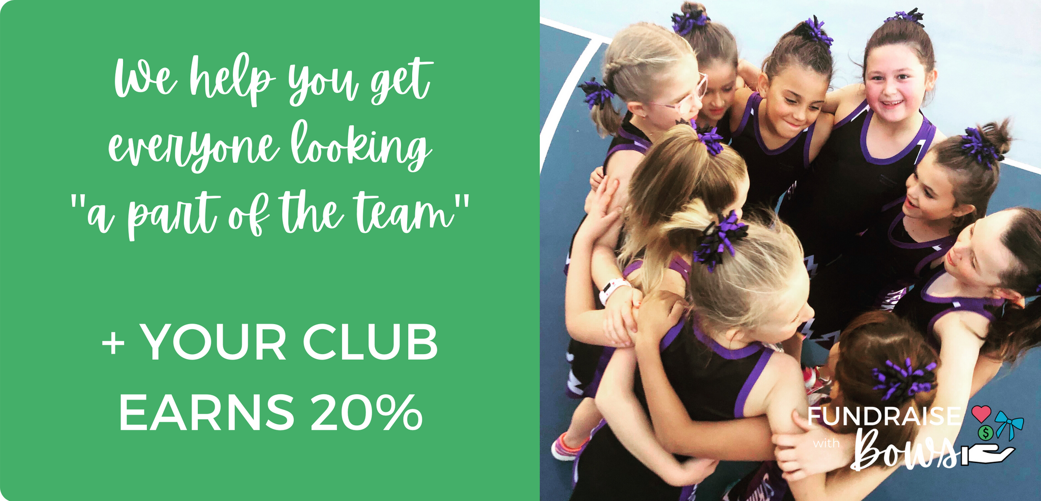 Be proud, be seen. Your colours, your team. The Fundraise with bows program sends 20% back to your team when purchases are made with your code.