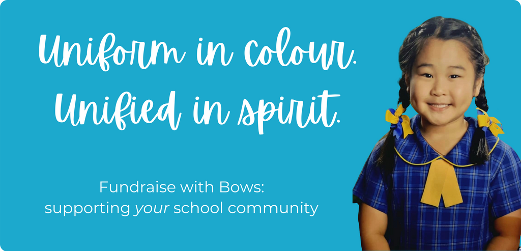 "Uniform in Colour. Unified in Spirit. School Ponytails ""Fundraise with Bows"" supports your community"