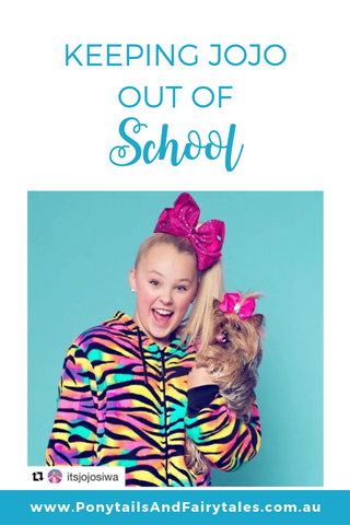 jojo siwa and her dog bow bow in fluoro clothes and hair bows | school ponytails