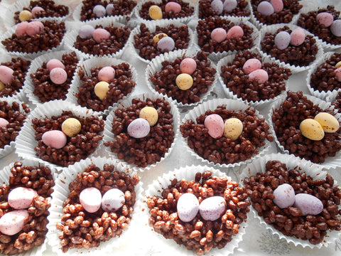 chocolate crackle nests - using leftover easter egg chocolate