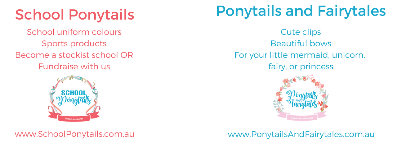 Ponytails and Fairytales + School Ponytails brands, brought to you by School Ribbons Pty Ltd