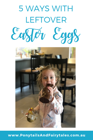 Little girl eating large easter egg | Ponytails and Fairytales