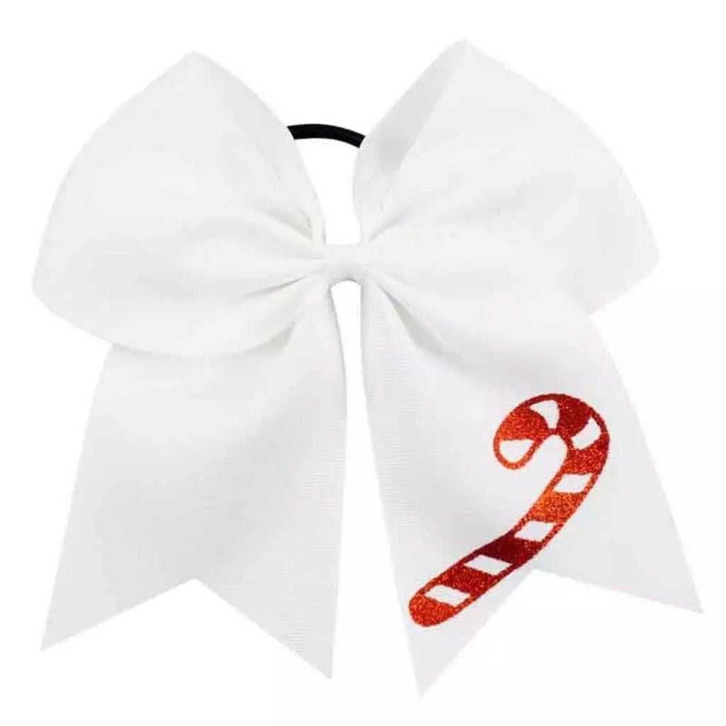 Big Christmas Candy Cane Cheer Bow Hair Tie - christmas - School Uniform Hair Accessories - Ponytails and Fairytales