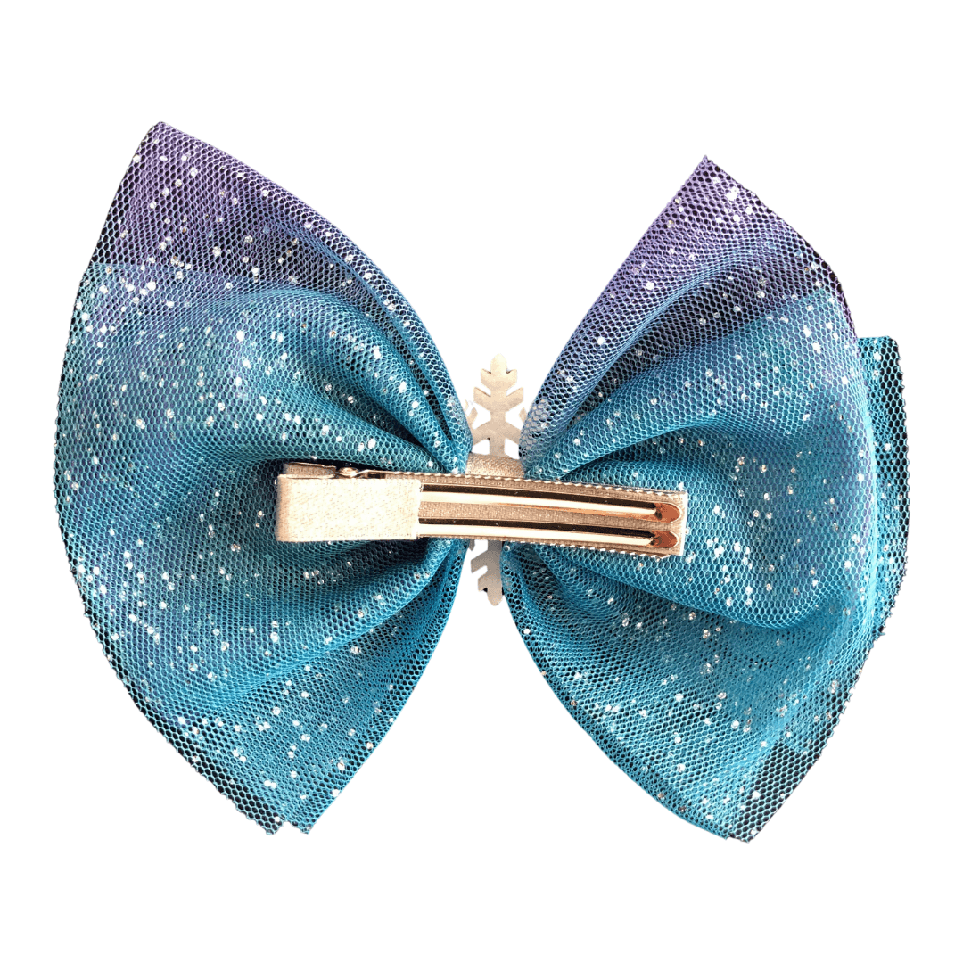 Big Frozen Snowflake Bow Hair clips Ponytails and Fairytales