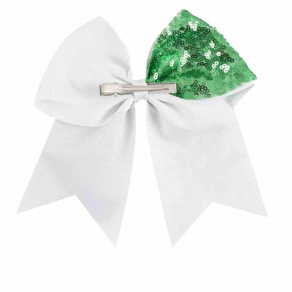 Big Sequin Christmas Cheer Bow Clip - Green - christmas - School Uniform Hair Accessories - Ponytails and Fairytales
