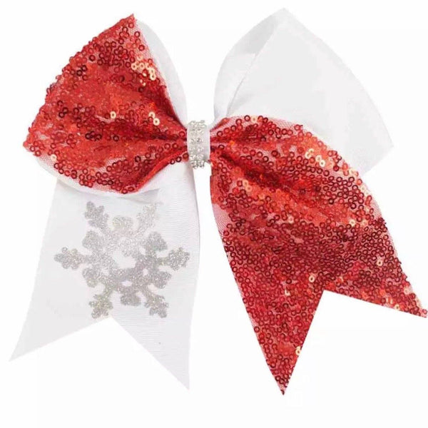 Big Sequin Christmas Cheer Bow Clip - Red - christmas - School Uniform Hair Accessories - Ponytails and Fairytales