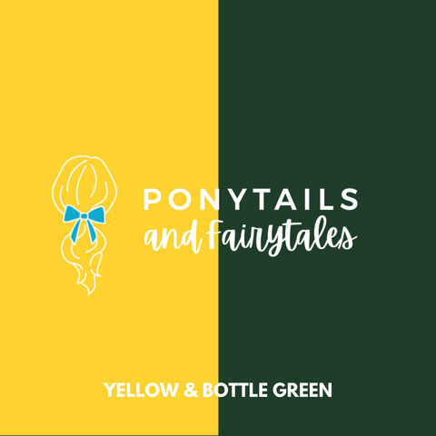 Bottle Green & Yellow Hair Accessories - Ponytails and Fairytales