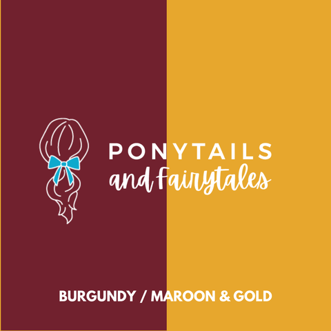 Burgundy & Gold Hair Accessories Assorted Hair Accessories School Ponytails - Colours
