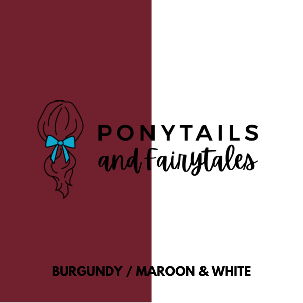 Burgundy / Maroon & White Hair Accessories Assorted Hair Accessories School Ponytails - Colours