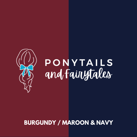 Burgundy & Navy Hair Accessories - Ponytails and Fairytales
