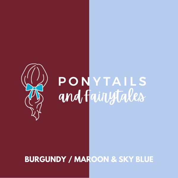 Burgundy & Sky Blue Hair Accessories - Assorted Hair Accessories - School Uniform Hair Accessories - Ponytails and Fairytales