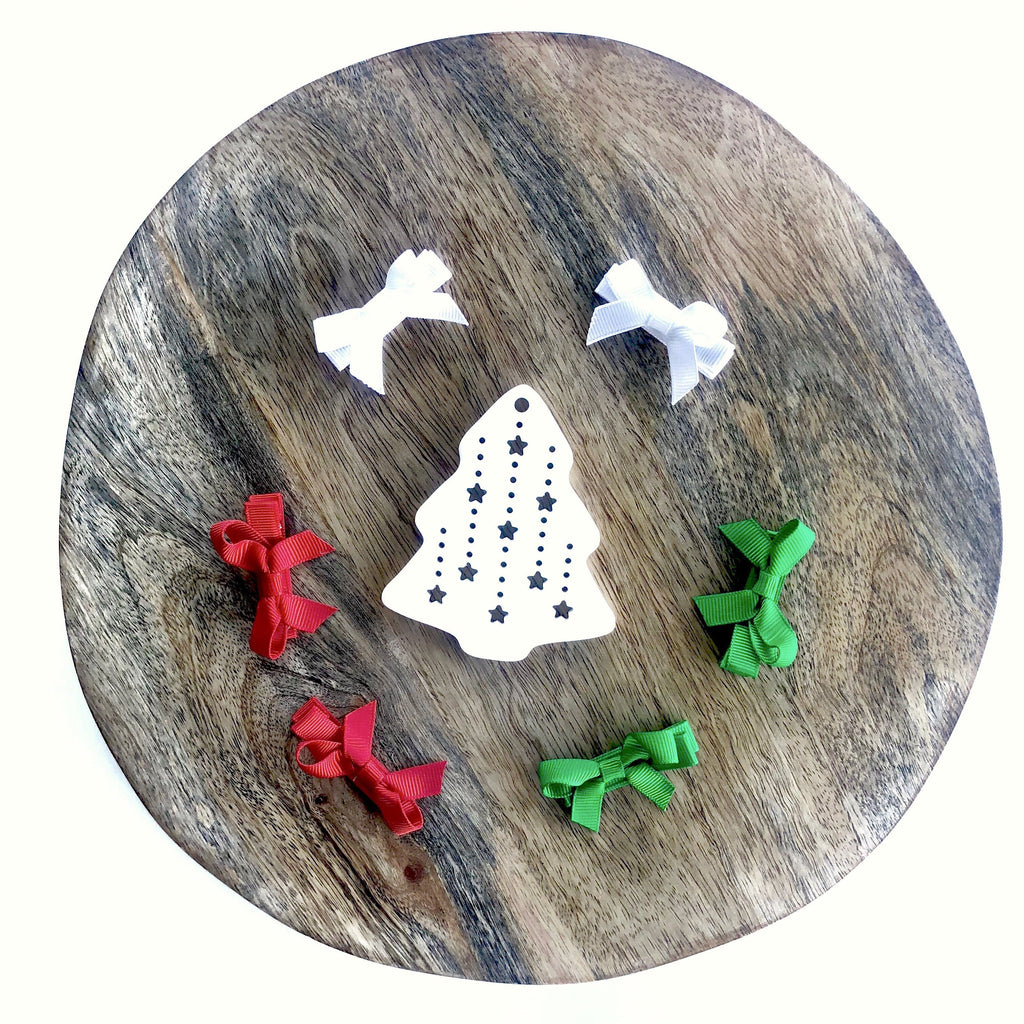 Christmas Bow Clip Set (6pc) - christmas - School Uniform Hair Accessories - Ponytails and Fairytales