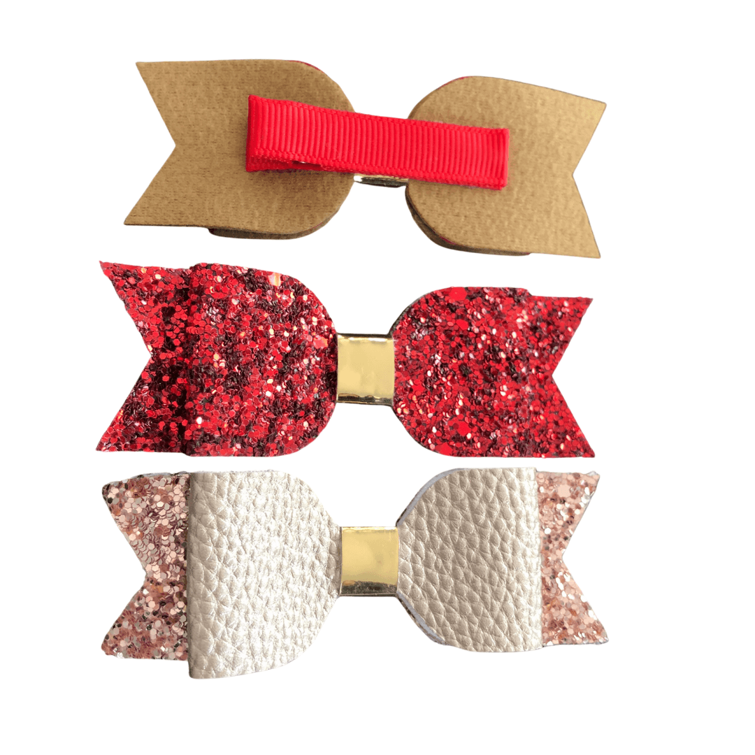 Christmas Bow Hair clips Ponytails and Fairytales