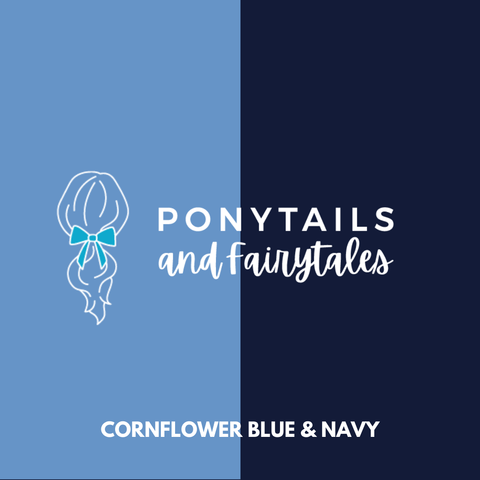 Cornflower Blue & Navy Hair Accessories - Ponytails and Fairytales