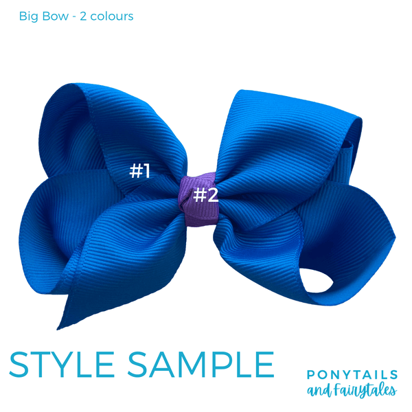 Custom Colours: Choose Your Own (2) Assorted Hair Accessories School Ponytails - Colours Big Bow - 4 inch - School Size
