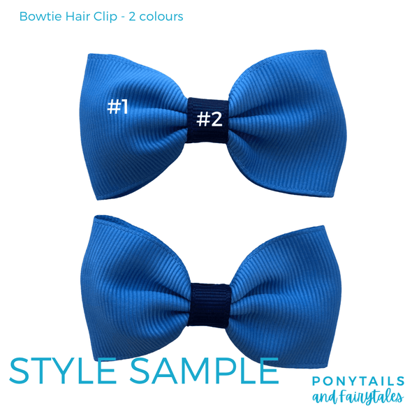 Custom Colours: Choose Your Own (2) Assorted Hair Accessories School Ponytails - Colours Bowtie Hair Clip (2pc)