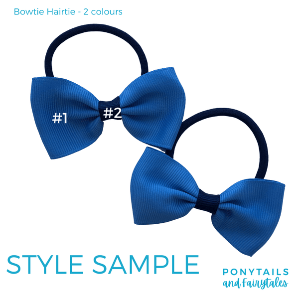 Custom Colours: Choose Your Own (2) Assorted Hair Accessories School Ponytails - Colours Bowtie Hair Tie (2pc)