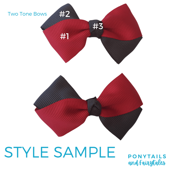 Custom Colours: Choose Your Own (2) Assorted Hair Accessories School Ponytails - Colours Bowtique Bow - 2pc (clip)