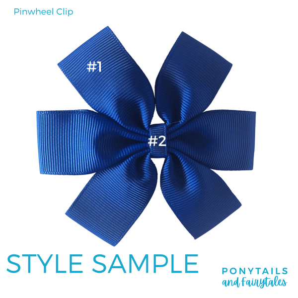 Custom Colours: Choose Your Own (2) Assorted Hair Accessories School Ponytails - Colours Pinwheel Clip