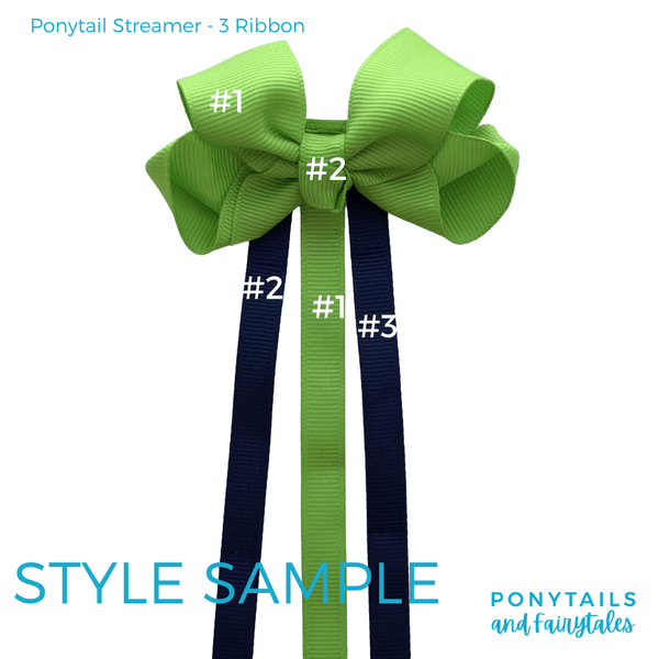 Custom Colours: Choose Your Own (2) Assorted Hair Accessories School Ponytails - Colours Ponytail Streamer