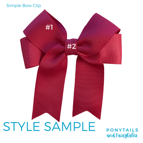 Custom Colours: Choose Your Own (2) Assorted Hair Accessories School Ponytails - Colours Simple Bow (Clip)