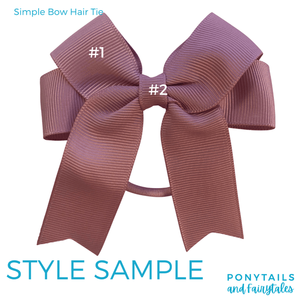 Custom Colours: Choose Your Own (2) Assorted Hair Accessories School Ponytails - Colours Simple Bow (tie)