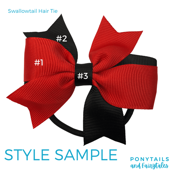 Custom Colours: Choose Your Own (2) Assorted Hair Accessories School Ponytails - Colours Swallowtail (hair tie)