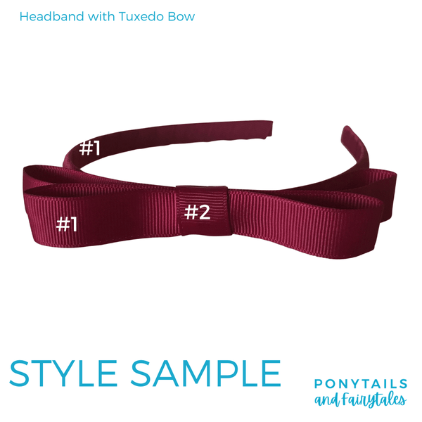 Custom Colours: Choose Your Own (2) Assorted Hair Accessories School Ponytails - Colours Tuxedo Headband