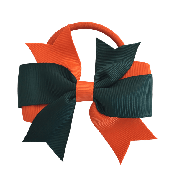Darkest Petrol Green & Orange Hair Accessories - Assorted Hair Accessories - School Uniform Hair Accessories - Ponytails and Fairytales