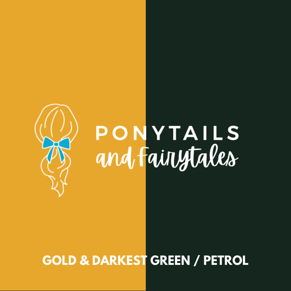 Darkest Petrol Green & Gold Hair Accessories - Ponytails and Fairytales