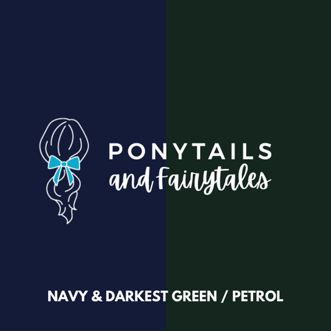 Darkest Petrol Green & Navy Hair Accessories Assorted Hair Accessories School Ponytails - Colours