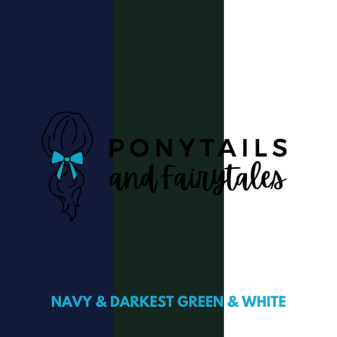 Darkest Petrol Green & Navy & White Hair Accessories Assorted Hair Accessories School Ponytails - Colours