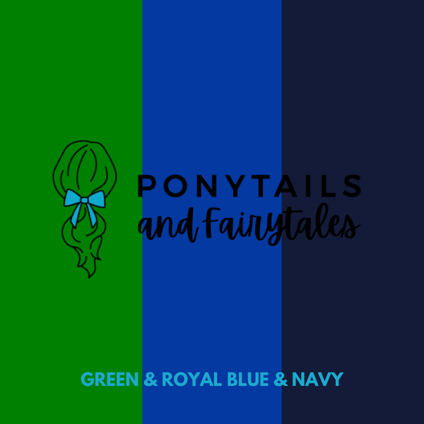 Double Layer Bow Hair Tie hair ties School Ponytails Green & Royal Blue & Navy