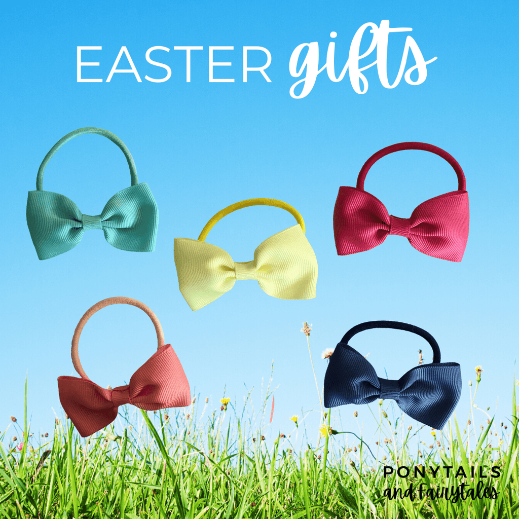 Easter Bowtie Hair Tie Set - easter - School Uniform Hair Accessories - Ponytails and Fairytales
