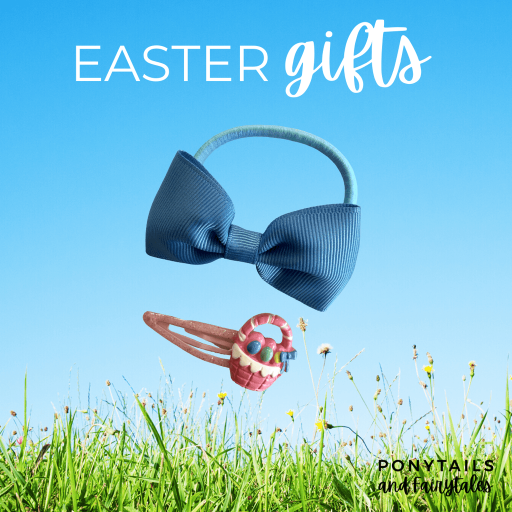 Easter Gift Set: Basket Glittery Snap Clip and Hair Tie - easter - School Uniform Hair Accessories - Ponytails and Fairytales
