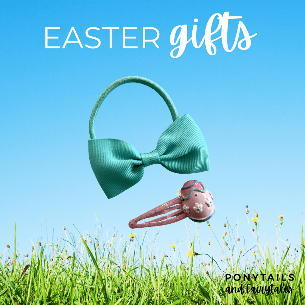 Easter Gift Set: Egg Snap Clip and Hair Tie - easter - School Uniform Hair Accessories - Ponytails and Fairytales
