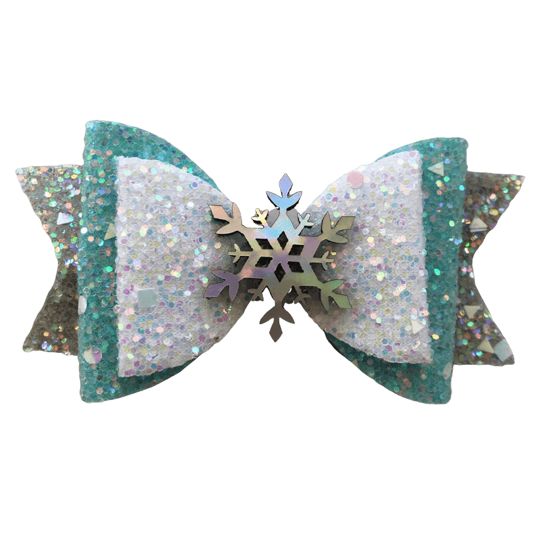 Elsa Snowflake Bow - Hair clips - School Uniform Hair Accessories - Ponytails and Fairytales