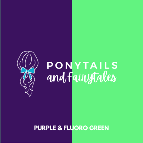 Fluoro Green & Purple Hair Accessories - Assorted Hair Accessories - School Uniform Hair Accessories - Ponytails and Fairytales
