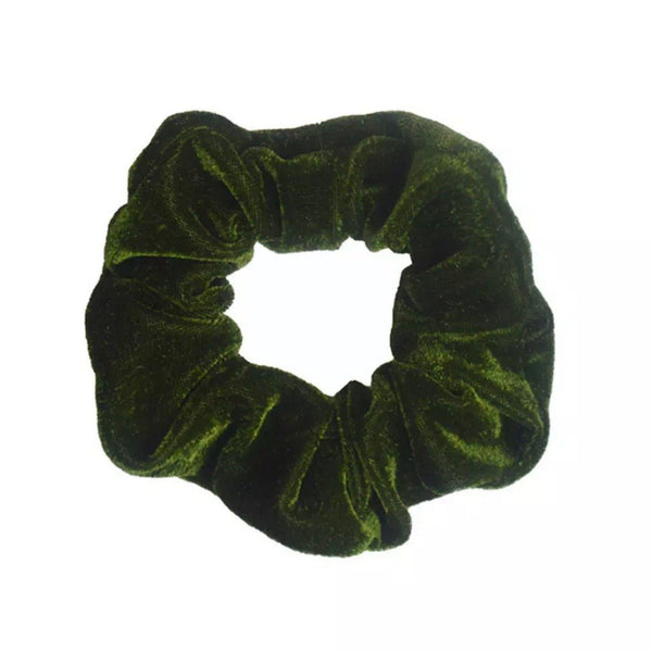 Forest Green & White Hair Accessories Assorted Hair Accessories School Ponytails - Colours Velvet Scrunchie - Dark Green